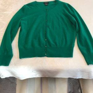 100% Cashmere Button Down Emerald Ladies Sweater